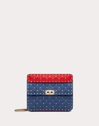 Valentino Garavani Medium Rockstud Spike Denim Bag Women Dark Blue 98% Cotone, 2% Gomma OneSize