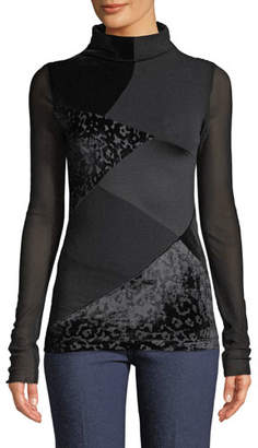 Fuzzi Long-Sleeve Velvet Patchwork Turtleneck Top