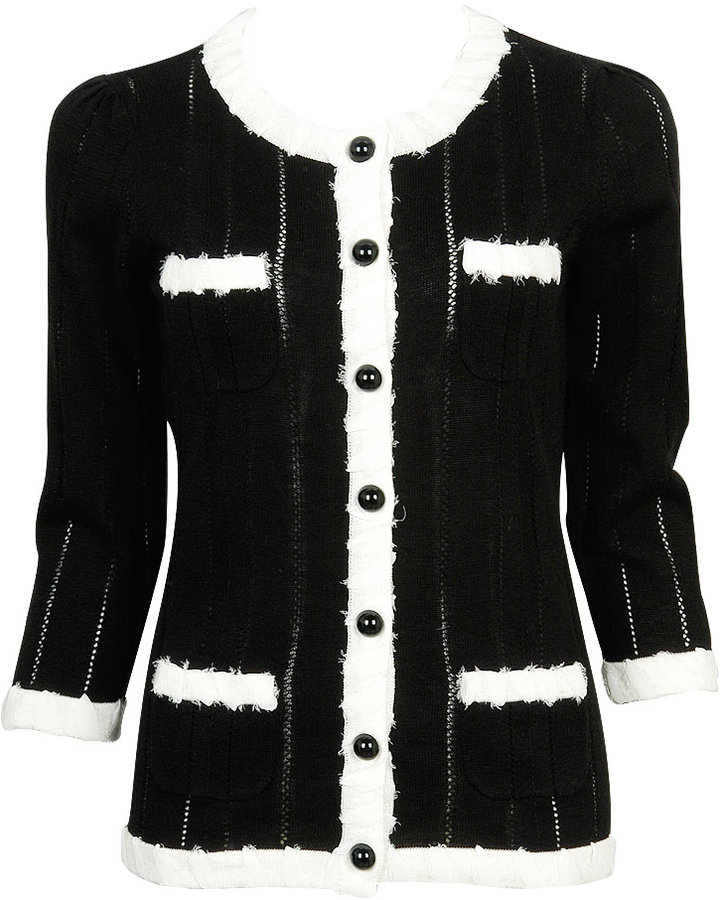 Chiffon Trim Pointelle Cardigan
