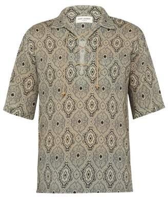 Saint Laurent Paisley Print Lace Up Shirt - Mens - White Multi