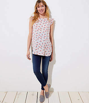 LOFT Maternity Tropical Flutter Top