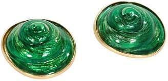 Saint Laurent Vintage Green Metal Earrings