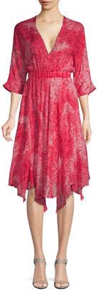 Maje Rey Cotton Printed Midi Dress