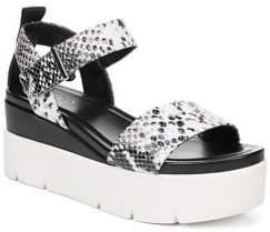 Franco Sarto Vanjie Snakeskin-Print Leather Platform Sandals