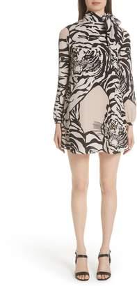 Valentino Leopard Print Silk Shift Dress