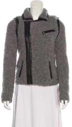 Rag & Bone Leather-Trimmed Wool-Blend Jacket