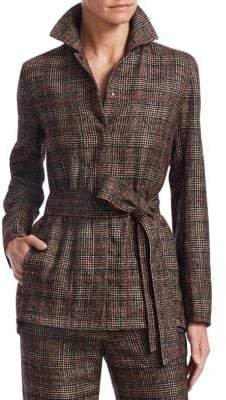 Akris Plaid Belted Jacket