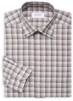 Eton Slim-Fit Plaid Cotton Dress Shirt
