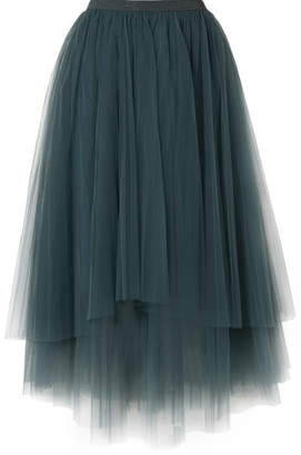 Brunello Cucinelli Embellished Layered Tulle Midi Skirt - Petrol