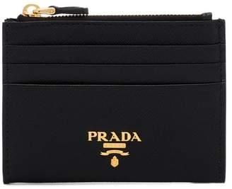 Prada black Saffiano logo plaque leather wallet