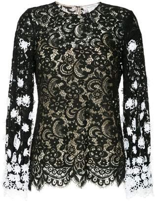 Oscar de la Renta lace floral blouse