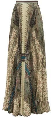 Etro Devon Paisley Print Pleated Maxi Skirt - Womens - Beige Multi