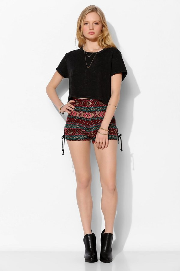 Urban Outfitters Ecote Sky Jacquard Pin-Up Short