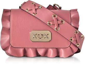RED Valentino Pink Studded Leather Ruffle Smalla Shoulder Bag