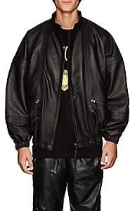 WILLY CHAVARRIA Men's Leather Oversized Jacket - Black