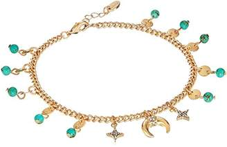 Ettika Womens Tone Horn Anklet with Gold Plated Chain