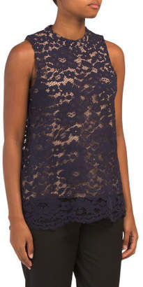 Sleeveless High Neck Lace Top
