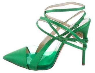 Prabal Gurung Casadei x Satin PVC-Accented Pumps