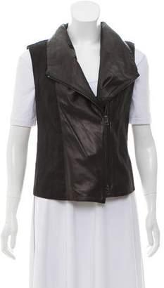 Vince Linen-Blend Leather-Accented Vest
