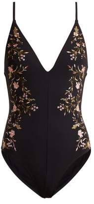 Zimmermann Iris Motif Plunge Embroidered Swimsuit - Womens - Black Multi