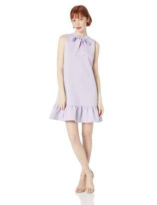 Betsey Johnson Women's Scuba Shift Dress with Ruffled Hem