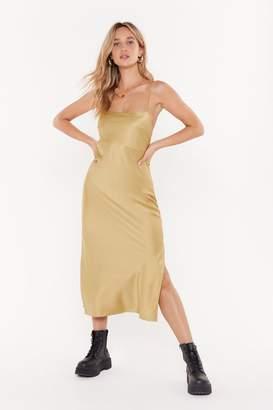 Nasty Gal Womens Square Neck Midi Slip Dress - Metallics - 10