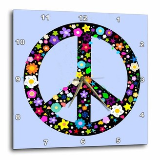 3dRose Floral Peace Symbol - Flowery hippy or hippie sign - flower power - colorful flowers - on blue, Wall Clock, 10 by 10-inch