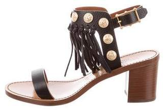 Valentino Leather Fringe-Accented Sandals