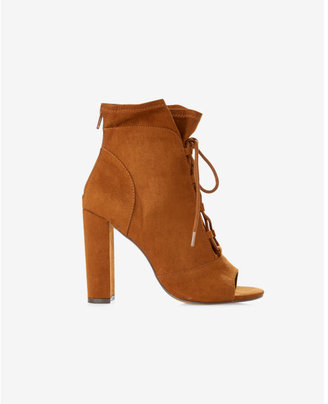 Express lace-up slouchy peep toe bootie $69.90 thestylecure.com