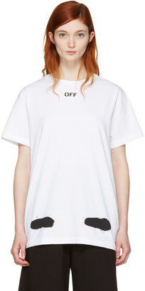 Off-White SSENSE Exclusive White Diagonal Spray T-Shirt $270 thestylecure.com