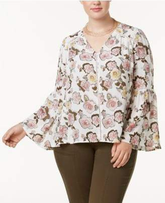 INC International Concepts I.N.C. Plus Size Printed Bell-Sleeve Top, Created for Macy's