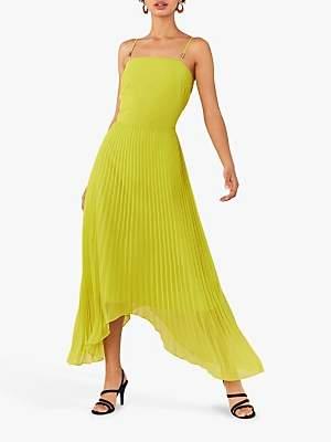 Oasis Pleat Asymmetric Dress, Lime Green