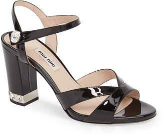 Miu Miu Jeweled Heel Sandal