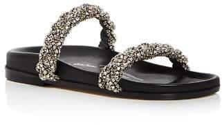 Oscar de la Renta Women's Charlee Crystal Embellished Satin Slide Sandals