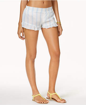 Macy's Miken Juniors' Striped Ruffled Cover-Up Shorts, Created for
