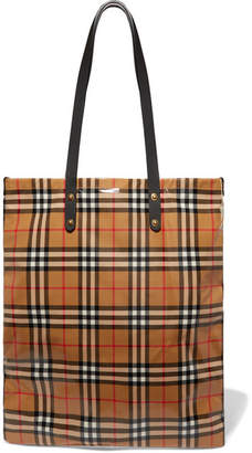 Burberry Leather-trimmed Coated Checked Poplin Tote - Beige
