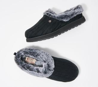 Skechers Sweater Knit Faux Fur Slippers - Ice Angel