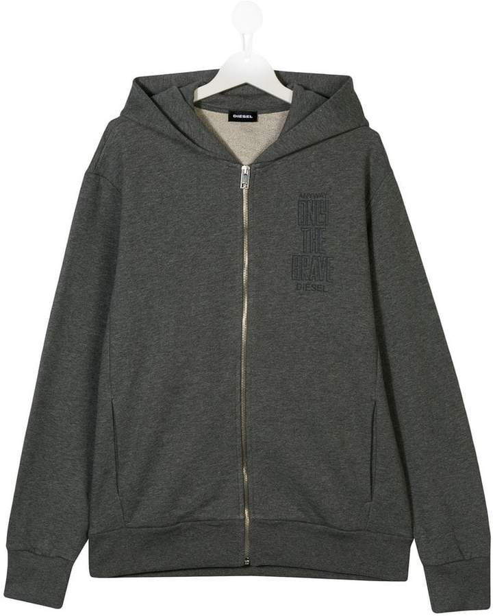Diesel Kids logo zipped hoodie
