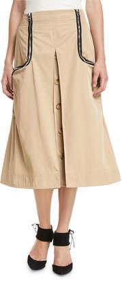 J.W.Anderson A-Line Godet Twill Skirt w/ Two Way Zips