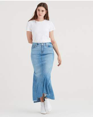 7 For All Mankind Long Maxi Skirt With Side Kicks And Destroy In Bright Blue Jay