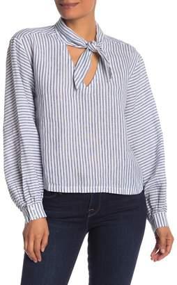 Frame Striped Tie V-Neck Blouse