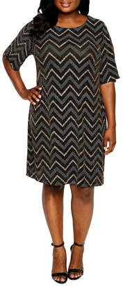 Studio 1 3/4 Sleeve Chevron Sheath Dress - Plus