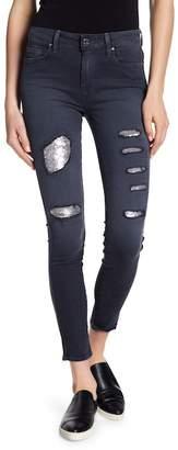 Genetic Los Angeles Elle Sequin Distressed Skinny Jeans