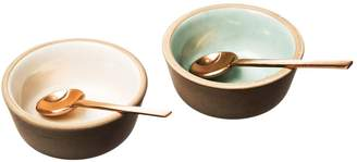 Just Slate Stoneware and Copper Spoon Condiment Set