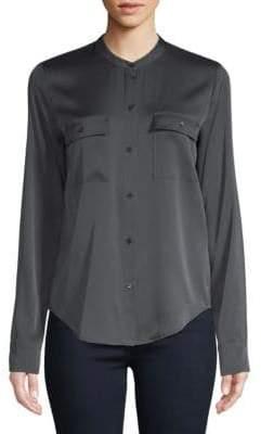 Vince Long-Sleeve Curved Hem Button-Down Shirt