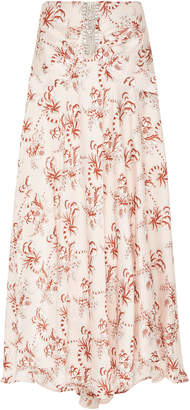 Paco Rabanne Printed And Embellished Satin Maxi Skirt Size: 38