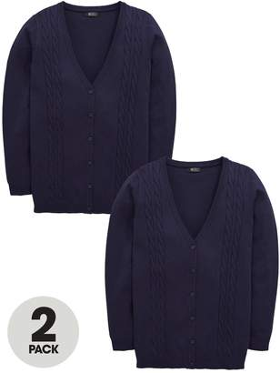 Very Schoolwear Girls Cable Knit Longline School Cardigans - Navy (2 Pack)