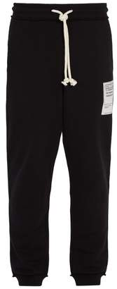Maison Margiela Front Patch Cotton Jersey Track Pants - Mens - Black