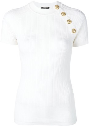 Balmain button embellished knitted top