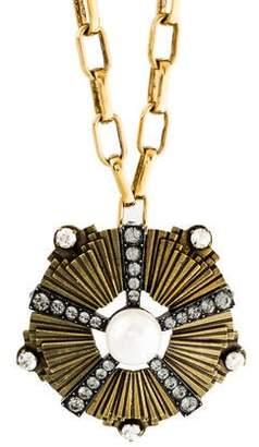 Lanvin Crystal & Faux Pearl Brooch Pendant Necklace